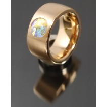 11mm PVD Rosé Gold Edelstahl Ring mit Swarovski Elements Fb. Crystal Aurore Boreale