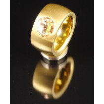 14mm PVD Gold Edelstahlring mit Swarovski Elements Fb. light Peach