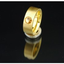 8mm PVD Gold Edelstahlring mit Swarovski Elements Fb. Light Colorado Topaz
