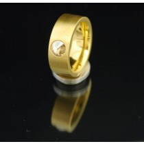 8mm PVD Gold Edelstahlring mit Swarovski Elements Fb. Crystal Golden Shadow