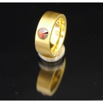 8mm PVD Gold Edelstahlring mit Swarovski Elements Fb. Red magma