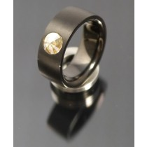 8mm Edelstahl Ring PVD schwarz  mit Swarovski Elements Fb. Crystal Golden Shadow