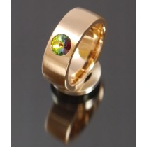 8mm Edelstahlring PVD rosé Gold mit Swarovski Elements Fb. Crystal Vitrail medium