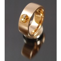 8mm Edelstahlring PVD rosé Gold mit Swarovski Elements Fb. Light Colorado Topaz