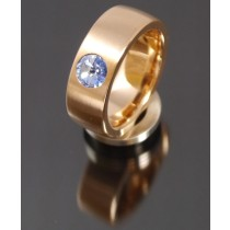 8mm Edelstahlring PVD rosé Gold mit Swarovski Elements Fb. Light Sapphire