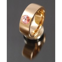 8mm Edelstahlring PVD rosé Gold mit Swarovski Elements Fb. Light Rose