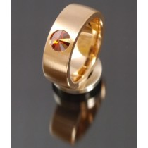 8mm Edelstahlring PVD rosé Gold mit Swarovski Elements Fb. Red Magma
