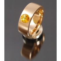 8mm Edelstahlring PVD rosé Gold mit Swarovski Elements Fb. Sunflower