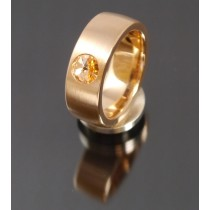 8mm Edelstahlring PVD rosé Gold mit Swarovski Elements Fb. light Peach