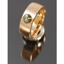 8mm Edelstahlring PVD rosé Gold mit Swarovski Elements Fb. Black Diamond