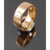 8mm Edelstahlring PVD rosé Gold mit Swarovski Elements Fb. Perle hell