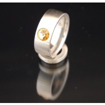 8mm Edelstahlring mit Swarovski Elements Fb. Light Colorado Topaz