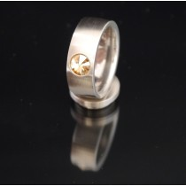8mm Edelstahlring mit Swarovski Elements Fb. Crystal Golden Shadow