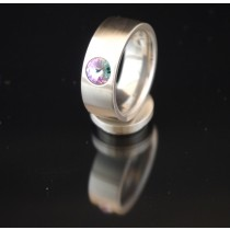 8mm Edelstahlring mit Swarovski Elements Fb. Crystal Vitrail light