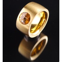 14mm PVD Gold Edelstahlring mit Swarovski Elements Fb. Light Colorado Topaz
