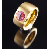 14mm PVD Gold Edelstahlring mit Swarovski Elements Fb. Light Rose