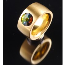 14mm PVD Gold Edelstahlring mit Swarovski Elements Fb. Crystal Vitrail medium