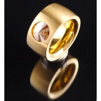 14mm PVD Gold Edelstahlring mit Swarovski Elements Fb. Crystal Golden Shadow
