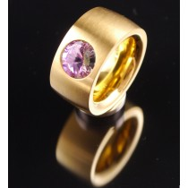 14mm PVD Gold Edelstahlring mit Swarovski Elements Fb. Crystal Vitrail light