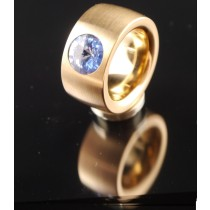 14mm PVD Rosé Gold Edelstahlring mit Swarovski Elements Fb. Light Sapphire