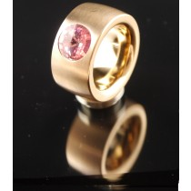 14mm PVD Rosé Gold Edelstahlring mit Swarovski Elements Fb. Light Rose
