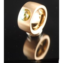 14mm PVD Rosé Gold Edelstahlring mit Swarovski Elements Fb. Luminous Green