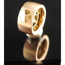 14mm Edelstahlring PVD Rosé Gold mit Swarovski Elements Fb. Crystal Golden Shadow