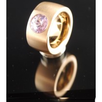 14mm PVD Rosé Gold Edelstahlring mit Swarovski Elements Fb. Violet light
