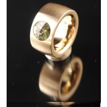 14mm PVD Rosé Gold Edelstahlring mit Swarovski Elements Fb. Black Diamond
