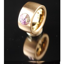 14mm Edelstahlring PVD Rosé Gold mit Swarovski Elements Fb. Crystal Vitrail light