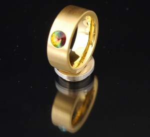 8mm PVD Gold Edelstahlring mit Swarovski Elements Fb. Crystal Vitrail medium
